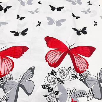 """Ткань бязь Gold """"Бабочки серые, красные купоном"""" 220 см"""