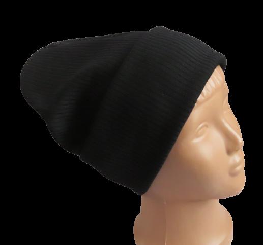 Молодежная весенняя однотонная шапка с отворотом Fero, черная