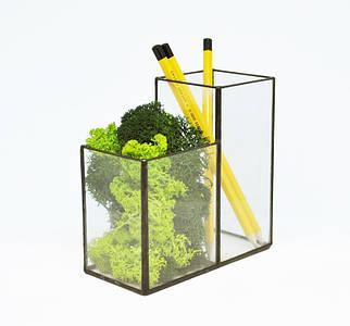 Флорариум кашпо Моссариум органайзер со стабилизированным мхом микс зеленого  /декор для дома и офиса