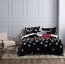 Постельное белье семейный комплект бязь голд люкс черно-белый принт ласточки