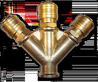 """Тройник РВ 3/8"""" + 3 коннектора - латунь, SP025"""