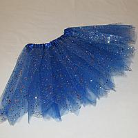 Юбка синяя детская пачка карнавальная пышная из фатина