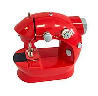 Маленька портативна швейна машинка Червона, електрична побутова швейна машинка для початківців
