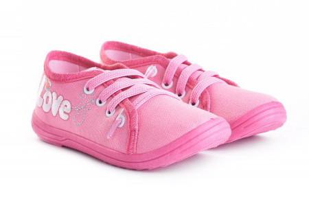 Кеди дитячі з тканини на шнурках рожеві