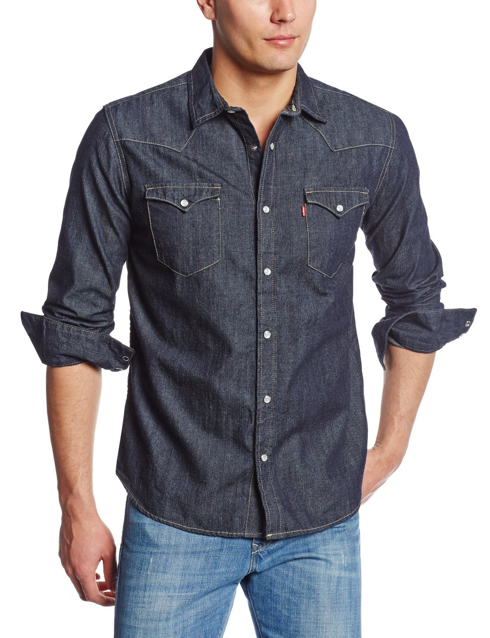 Рубашка джинсовая Levi's Men's Standard Barstow Denim Western Dark Rinse