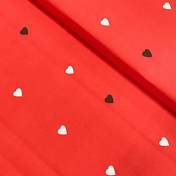 """Ткань бязь Gold """"Сердца белые, черные на красном"""" 220 см"""