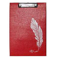 Планшет с зажимом А4 красный глянец с пером
