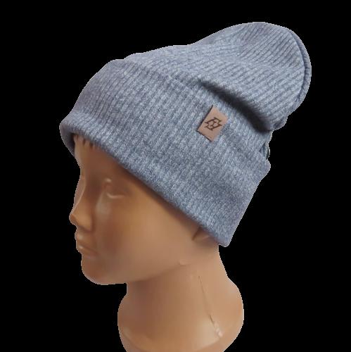 Молодіжна весняна бавовняна однотонна шапка з відворотом Fero, серая
