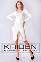 Белое облегающее платье с разрезом впереди. Арт-3283/23