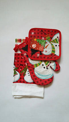 Новогодний набор для кухни Снеговик: прихватка, рукавичка, полотенце, фото 2