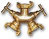 IMITATE GK Трійник байонетный, 1-вхід і 2-виходу з окремим і кранами, ЛАТУНЬ, GKI333C