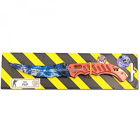 "Деревянный нож игрушка ""Флип""(Синий Кристалл) из Counter-Strike ( арт.FLI-C)"