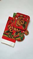 Мишка Тедди. Новогодний набор для кухни: прихватка, рукавичка, полотенце