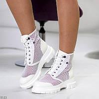 """Женские перфорированные ботинки летние на шнуровке Белые """"Flo"""""""