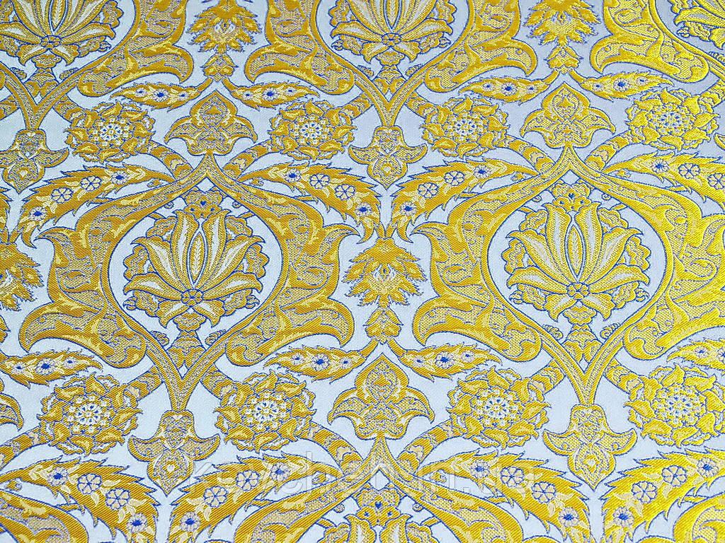 Шелковая церковная ткань   Вифания белая с голубым контуром