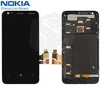 Дисплей + touchscreen (сенсор) для Nokia Lumia 620, c рамкой, оригинальный (черный)