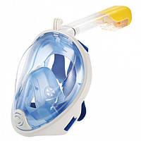 Полнолицевая маска для плавания снорклинга FREE BREATH (S/M) M2068G с креплением для камеры Синий