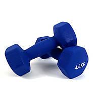 Гантели для фитнеса NEO-SPORT 4 кг. x 2 шт., металл с виниловым покрытием (синие)