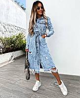 Стильне жіноче джинсове сукню на гудзиках