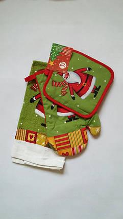 Новогодний набор для кухни с Дедом Морозом: прихватка, рукавичка, полотенце, фото 2