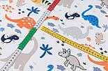 """Клапоть фланелі """"Динозаври помаранчеві, сині, сірі, розмір 48*90 см, фото 4"""