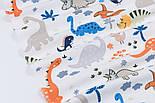 """Клапоть фланелі """"Динозаври помаранчеві, сині, сірі, розмір 48*90 см, фото 5"""