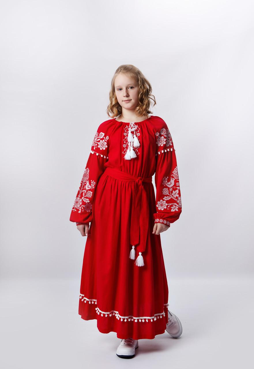 Сукня Волинські візерункі для дівчинки довге вишите 140 см червоного кольору