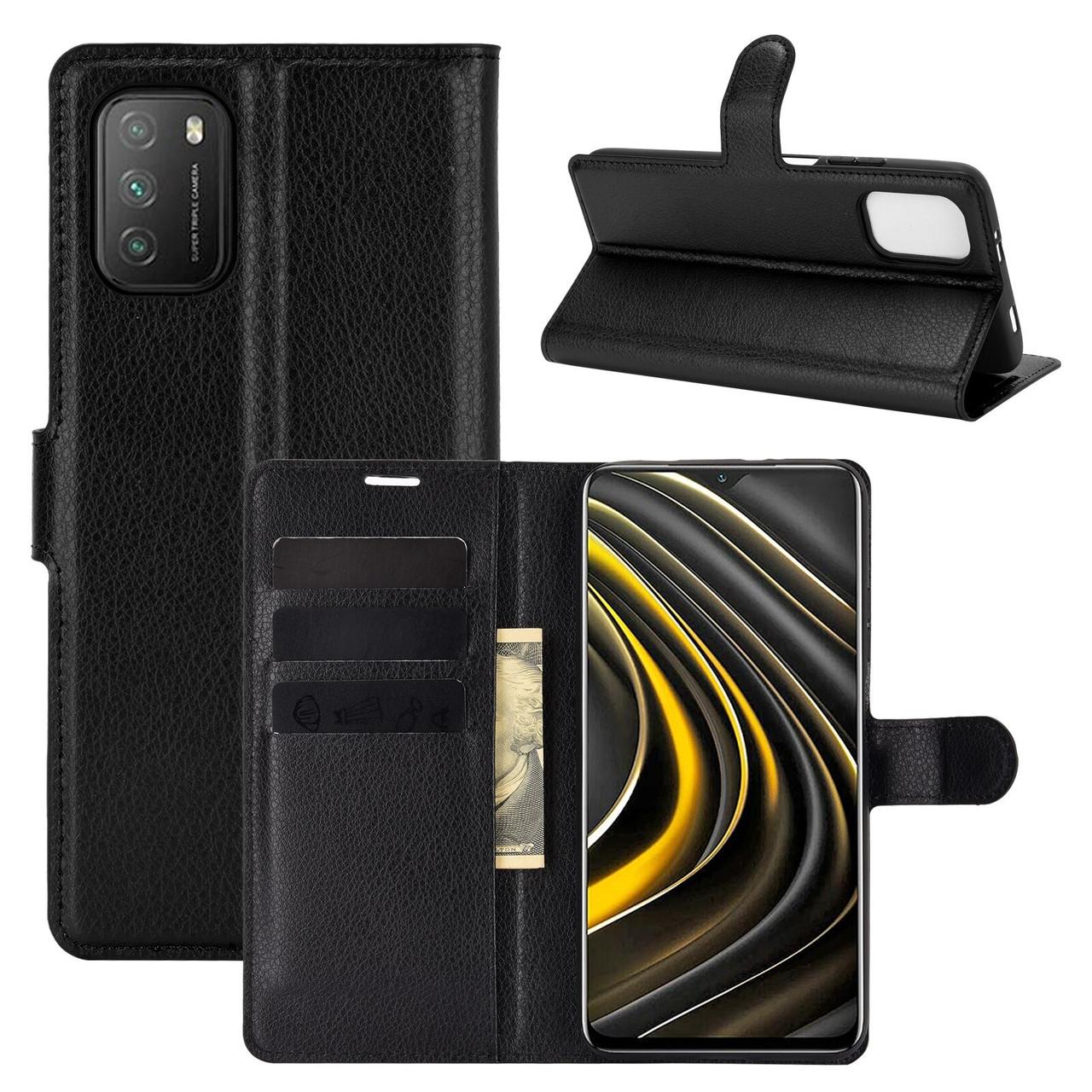 Чехол Fiji Luxury для Xiaomi Poco M3 книжка черный