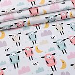 """Відріз фланелі """"Сплячі овечки"""" в пастельних тонах на білому, розмір 55 * 240 см, фото 2"""