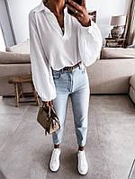 Женская стильная блузка с пышным длинным рукавом, фото 1
