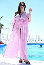 Туника длинная пляжная Большого размера Розовая