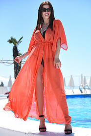 Туника длинная пляжная Большого размера Оранжевая