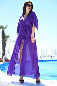 Туника длинная пляжная Большого размера Фиолетовая