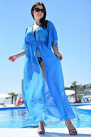 Туника длинная пляжная Большого размера Голубой