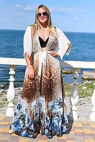 Длинная туника пляжная Большого размера Молочная принт леопард цветы
