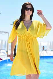 Короткая туника пляжная Большого размера Желтая