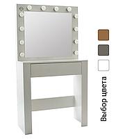 Стіл косметичний з дзеркалом та підсвічуванням Bonro B070 для спальні (Туалетний столик для косметики трюмо)