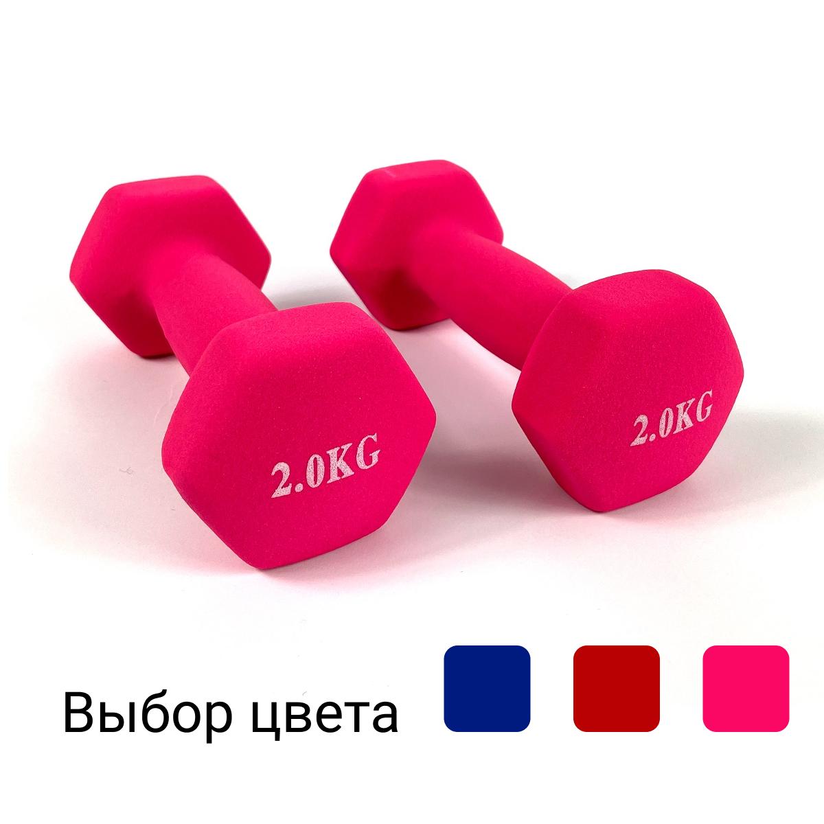 Гантелі металеві з вініловим покриттям 2 шт по 2 кг для фітнесу (Комплект набір гантелей 4 кг) Рожевий