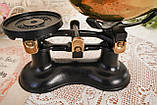 Винтажные английские кухонные весы с гирями, чугун, латунная чаша, латунные гири, Англия,Victor, фото 5