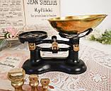 Винтажные английские кухонные весы с гирями, чугун, латунная чаша, латунные гири, Англия,Victor, фото 6