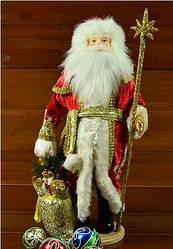 Декоративный дед Мороз в красной шубе с посохом и мешком 50 см