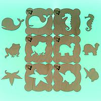 Набор эко трафаретов для игр с песком, рисования (песочной анимации) KidsToy из 6 шт. 10*10 см. Морские жители