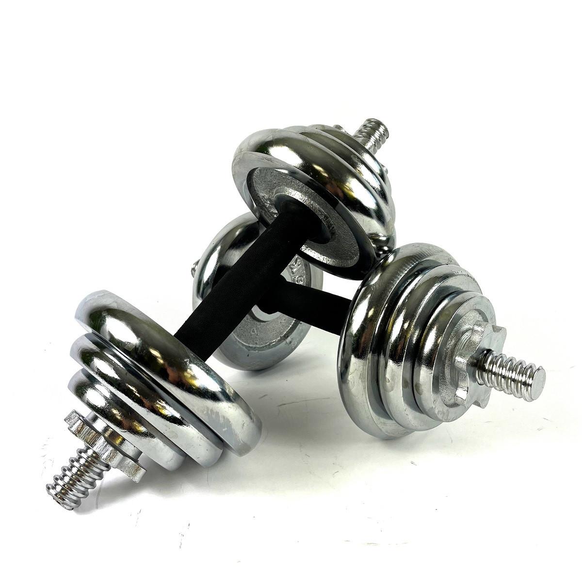 Розбірні гантелі 20 кг металеві хромовані зі змінними дисками комплект в боксі (2 по 10кг)