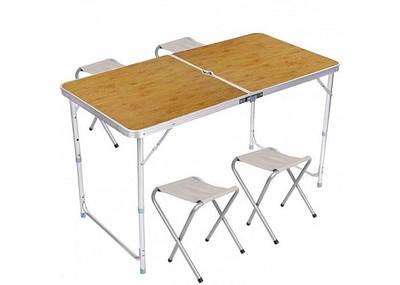 Складной столик чемодан для пикника, кемпинга 120 на 60 см с 4-мя стульями Folding Table светлое дерево 193525
