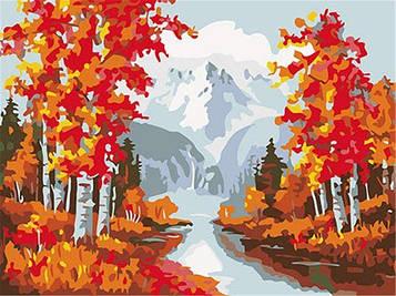 Раскраска по цифрам 40×50 см. Осень в предгорье