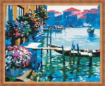 Раскраска по цифрам 40×50 см. Причал в Венеции
