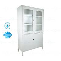 Аптечна шафа ШМ-2С (шафа для медикаментів, шафа на замку) з сейфом металева Заповіт