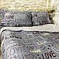 Євро комплект 200х220 «Grey Love» з сатину, фото 2