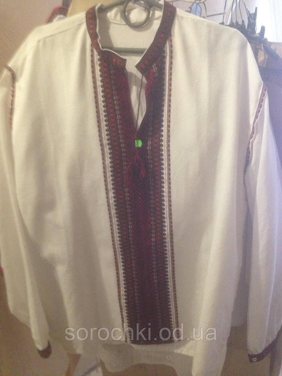 Вышиванка , мужская , белая , длинный рукав , домотканное полотно , ручная работа