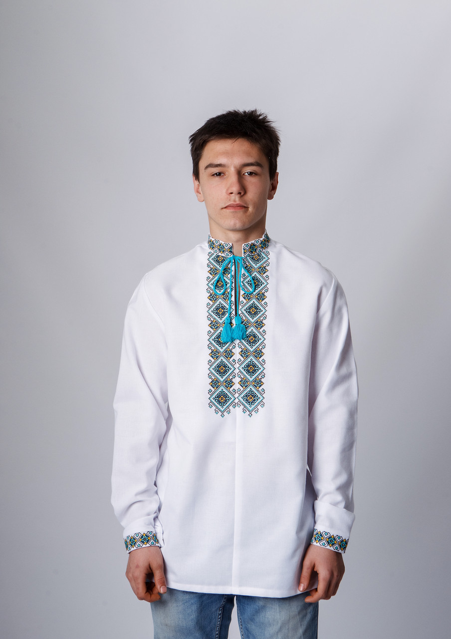 Подростковая вышиванка с мятной вышивкой 152 р